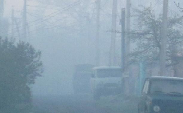 Раннее утро с ужасным густым едким дымом в Белеве.