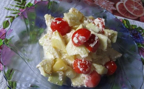 Кабачки и картошка, запеченные в сметане