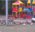 В парке Белоусова снимают новую плитку