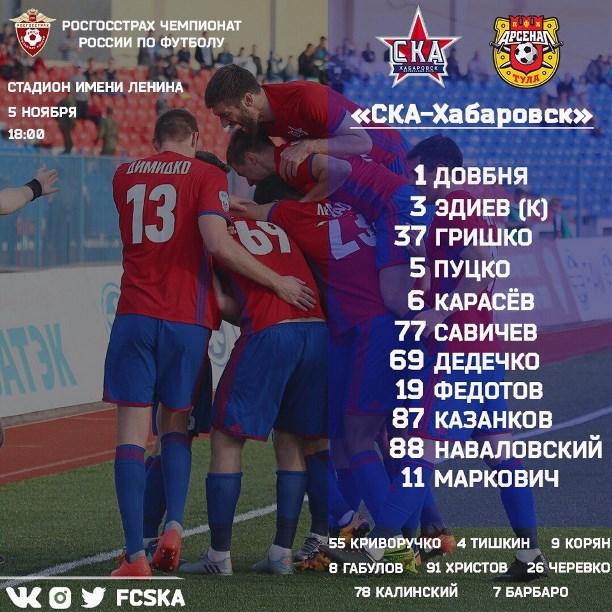 «Арсенал» одержал победу у«СКА-Хабаровск» сосчётом 2:1