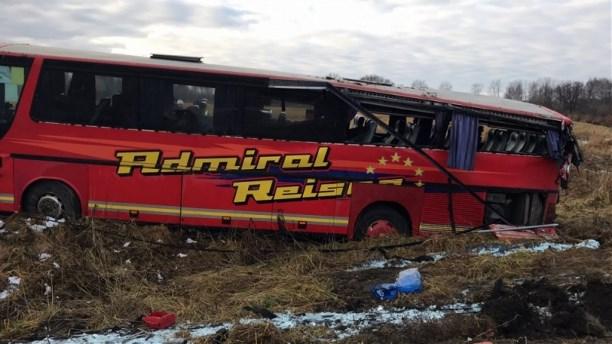ВТульской области перевернулся рейсовый автобус