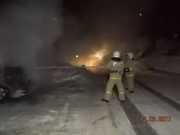 Ночью под Тулой сгорел грузовой автомобиль