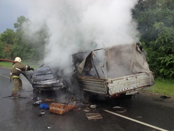 ВПлавском районе после ДТП загорелись «Газель» и«Шкода»