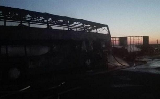В Богородицком районе сгорел автобус с «челноками»