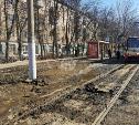 В Туле на пр. Ленина трамвай «вспахал» асфальт
