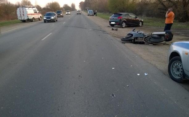 В Щёкинском районе столкнулись Kia и мотоцикл Honda