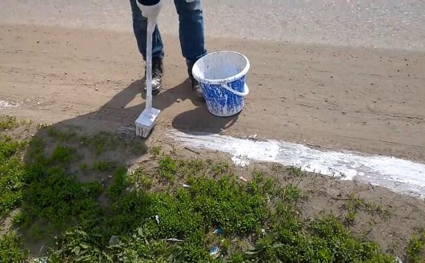 В Богородицке рабочие покрасили пыль на обочине