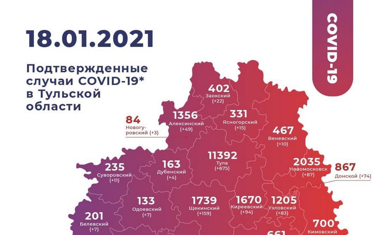 В каких районах Тульской области чаще заражались коронавирусом: карта