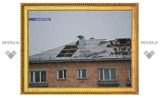 В Красноярском крае ураганом снесло крыши