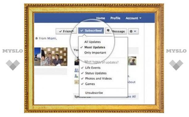 """Facebook ввел кнопку """"Подписаться"""""""