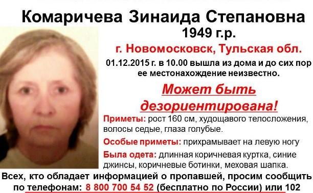 Тульские поисковики разыскивают пропавшую жительницу Новомосковска