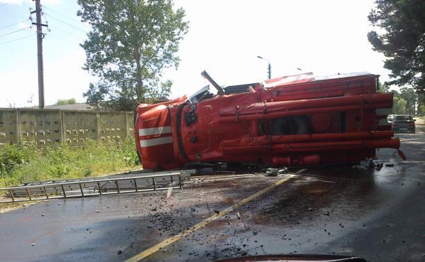 В Бунырёво перевернулась пожарная машина