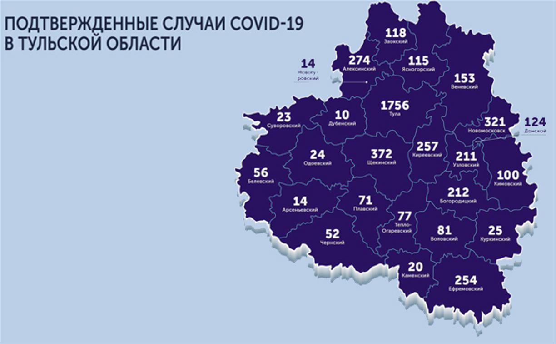 В каких городах Тулы и области есть COVID-19: карта на 8 июня