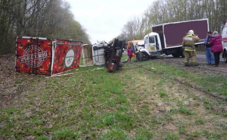 На трассе М2 столкнулись грузовик и хлебовоз