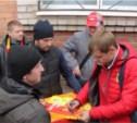 Фанаты «Арсенала» встретили команду после матча в Питере