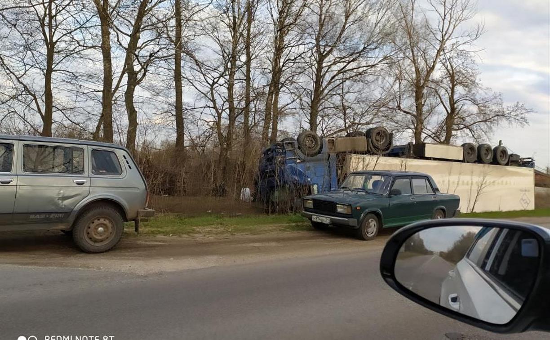 Под Новомосковском перевернулась фура с тушами свиней
