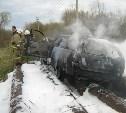 «Мерседес» сгорел после аварии на автодороге в Тульской области