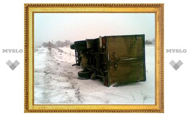 Под Тулой грузовик улетел в кювет
