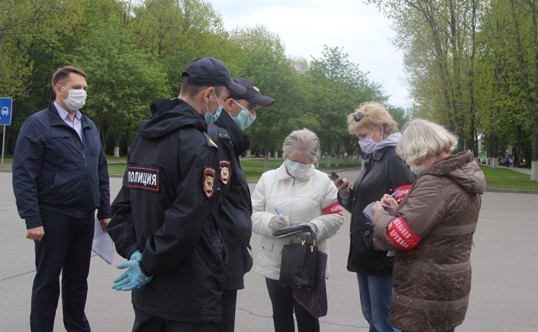 Сотрудники ППС, казаки и дружинники проверили соблюдение «масочного» режима в Центральном парке Тулы
