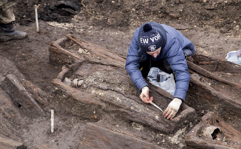В центре Тулы при раскопках найдено 30 гробов XVIII века