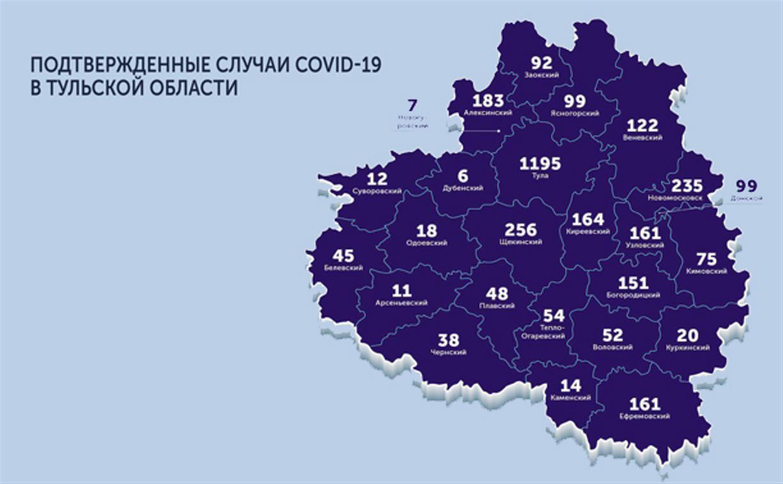Подтвержденные случаи коронавируса в Тульской области: карта на 26 мая