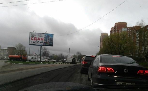На Калужском шоссе из-за ремонта дороги образовалась автомобильная пробка