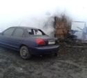 В Новомосковске сгорел гараж, в котором находилось два автомобиля