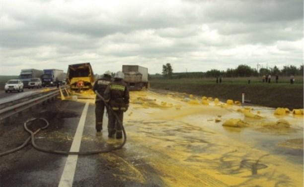 На трассе М4 столкнулись два грузовика