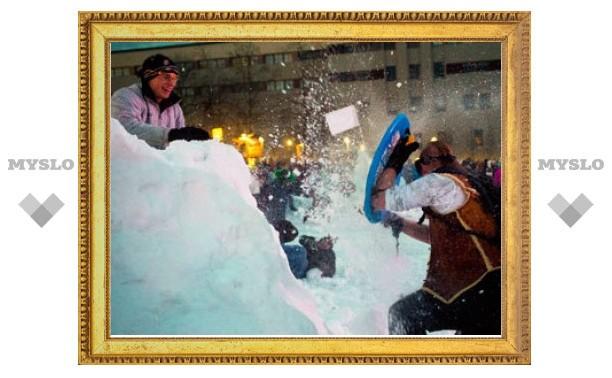 В Сиэтле состоялось рекордное снежное побоище