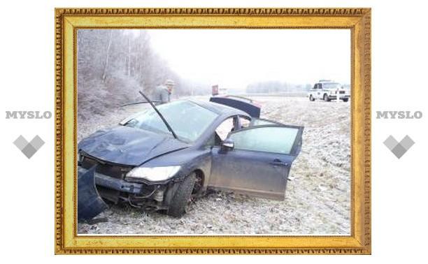 Тульский гололед опрокинул в кювет четыре машины