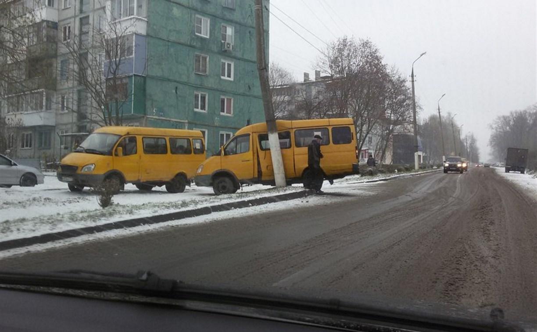 В Новомосковске маршрутную «Газель» занесло в столб