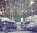 На Новомосковской трассе BMW протаранил «четвёрку»