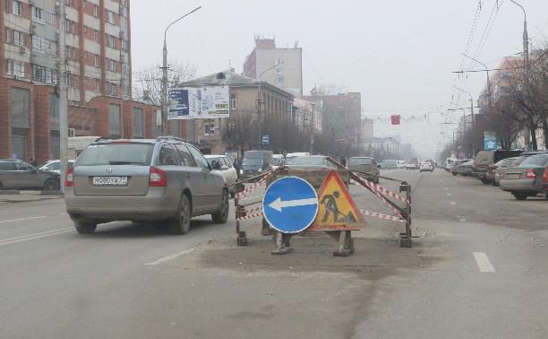 Провал в асфальте на Красноармейском проспекте залили бетоном