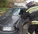 Грузовой Hyundai протаранил Volkswagen Passat на трассе М-2