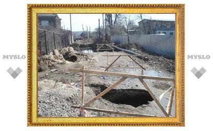В Туле на ул. Переходной продолжает проваливаться земля
