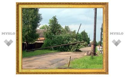 В Веневском районе ураганом вырвало столб электролинии