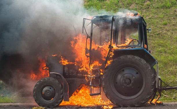 Под Тулой загорелся трактор