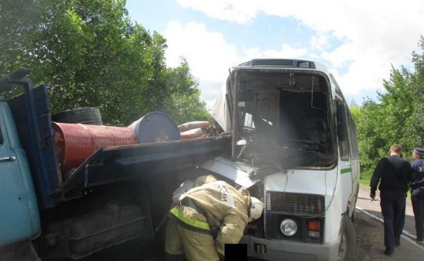 В Тульской области столкнулись пассажирский автобус и грузовик