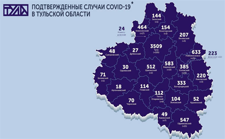 В каких городах Тульской области есть COVID-19: карта на 10 августа