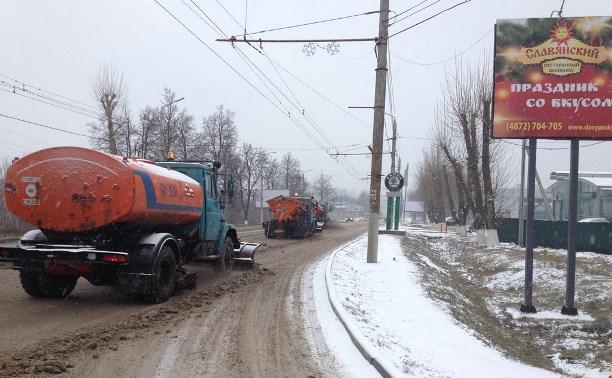 Тульские дороги чистят от снега 44 снегоуборочные машины