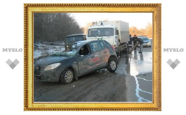 Под Тулой автомобиль «Рено» врезался в КамАЗ
