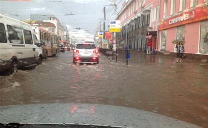 Центр Тулы затопило