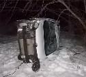В Алексинском районе автомобиль «Рено» съехал в кювет и перевернулся
