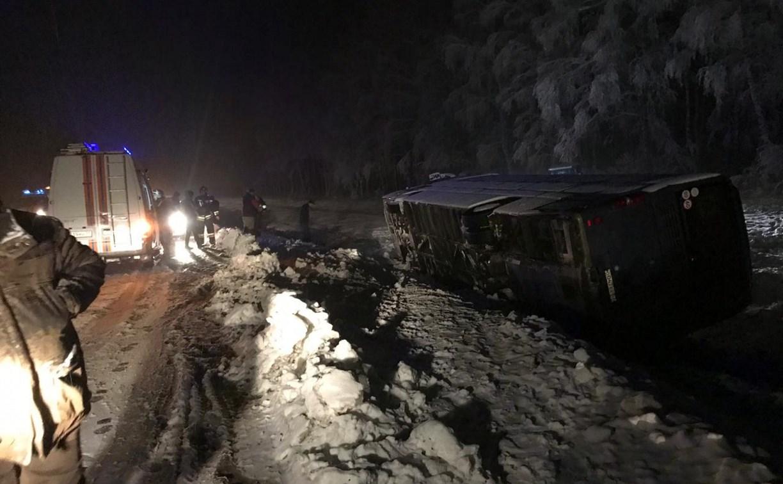 Под Тулой автобус с 40 детьми съехал в кювет