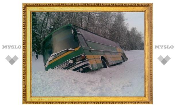 Под Тулой пассажирский автобус улетел в кювет