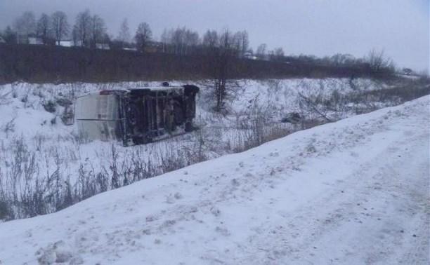 В Тульской области перевернулся микроавтобус