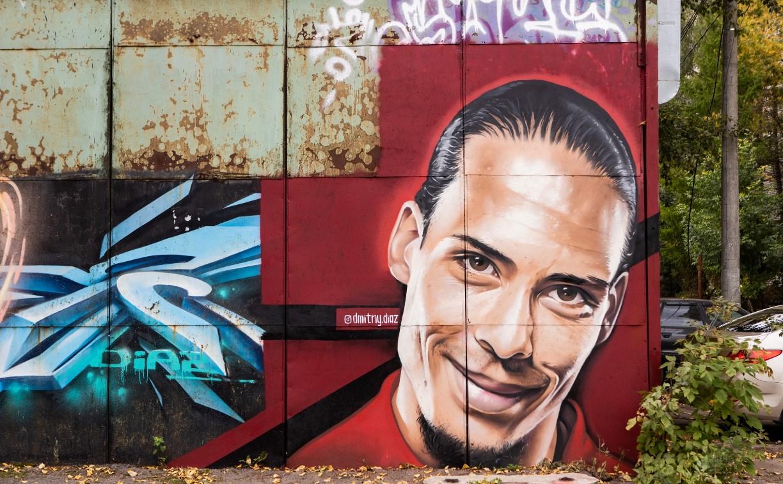 Тульский художник нарисовал на гараже огромный портрет футболиста ван Дейка