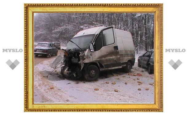 Под Тулой столкнулись микроавтобус, грузовик и легковушка