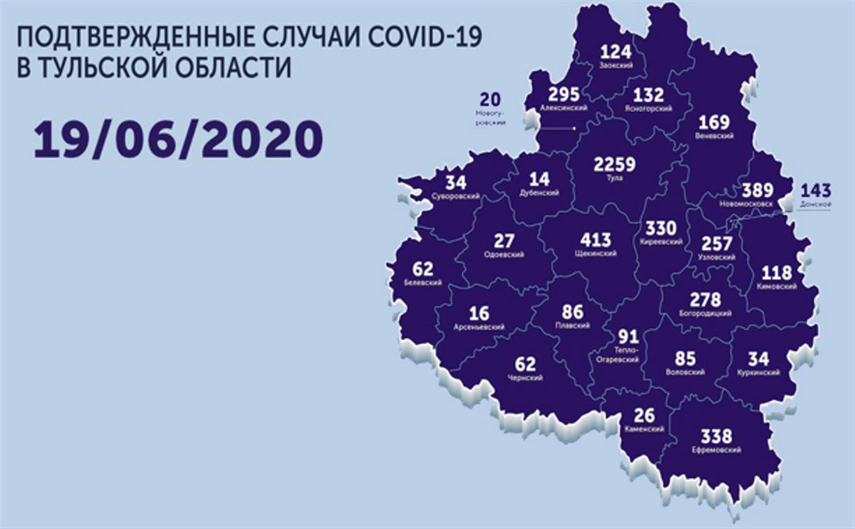 Названы самые зараженные коронавирусом города Тульской области: карта на 19 июня