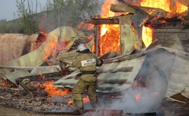 Утром в Узловском районе загорелась баня